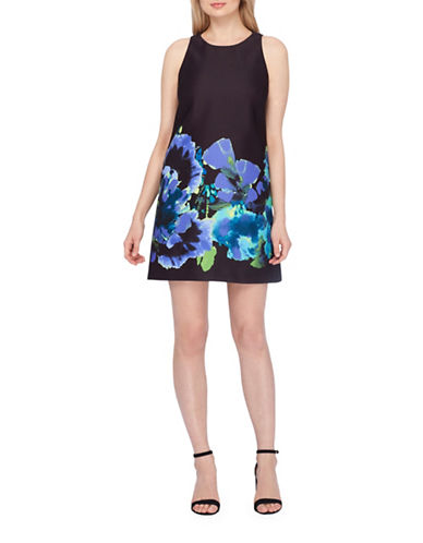 Tahari Floral Trapeze Shift Dress-BLACK MULTI-12