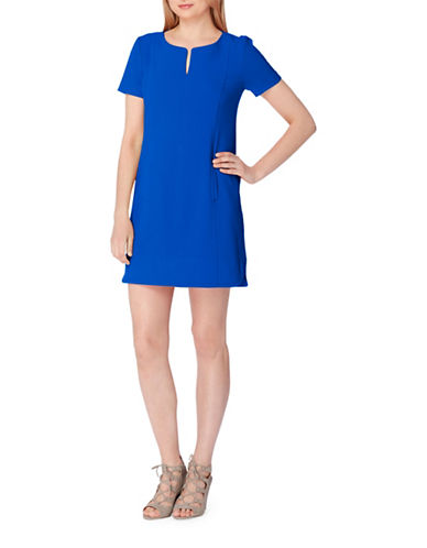 Tahari Split-Neck Shift Dress-BLUE-10