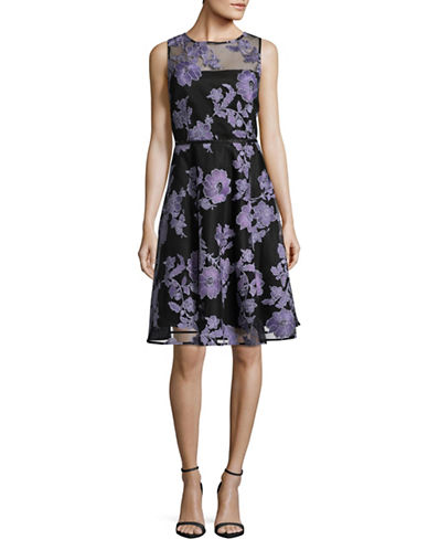 Tahari Floral Embroidered Fit-and-Flare Dress-BLACK/LAVENDER-4