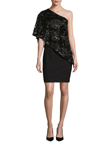 Tahari Sequin Lace Overlay Sheath-BLACK-6