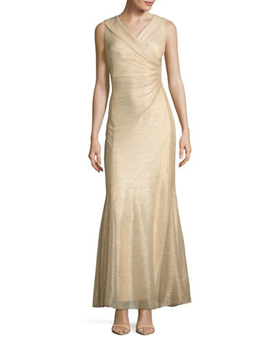 Tahari Metallic Knit Gown-GOLD-12