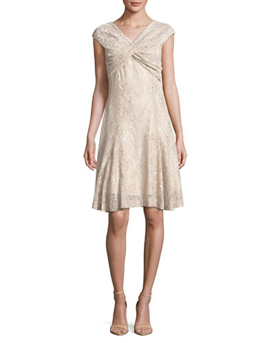 Tahari Crossover Lace Dress-BEIGE-14