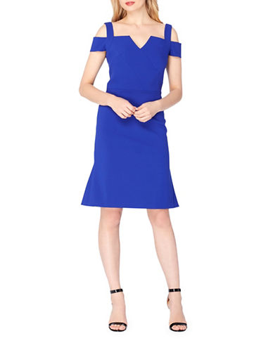 Tahari Cold-Shoulder Crepe Flounce Dress-COBALT-12