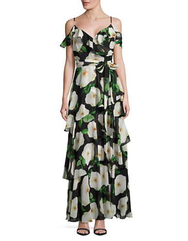 Tahari Floral Tiered Maxi Dress-BLACK MULTI-4