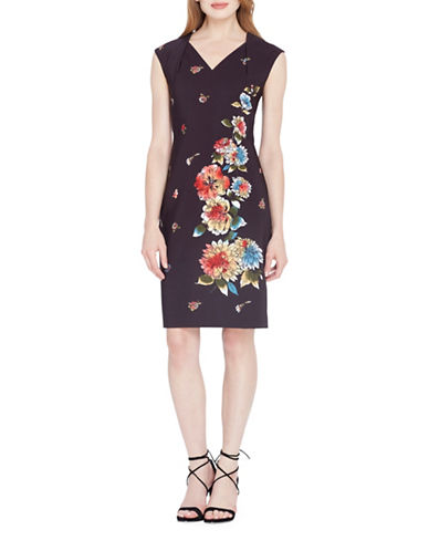 Tahari V-Neck Floral Sheath Dress-BLACK/WHITE/RED-10