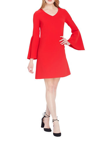 Tahari V-Neck Bell Sleeve Shift Dress-VERMILLION-8