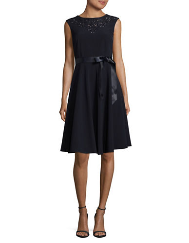 Tahari A-Line Beaded Neck Dress-BLUE-14