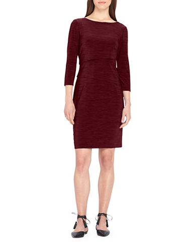 Tahari Jersey Sheath Dress-BORDEAUX-2