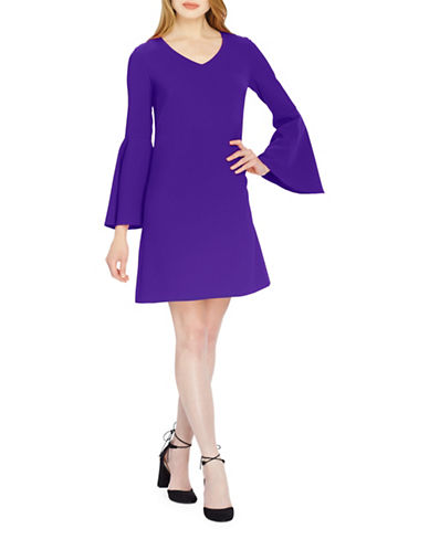 Tahari V-Neck Bell Sleeve Shift Dress-PURPLE-4