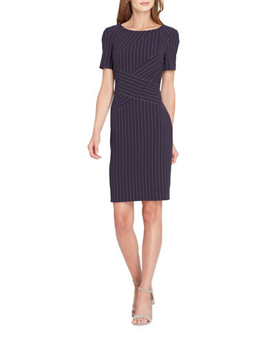Tahari Pinstripe Sheath Dress-BLUE MULTI-14