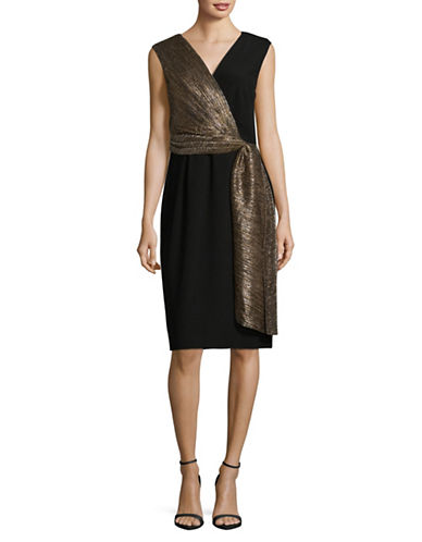 Tahari Draped Boudre Dress-BLACK/GOLD-16