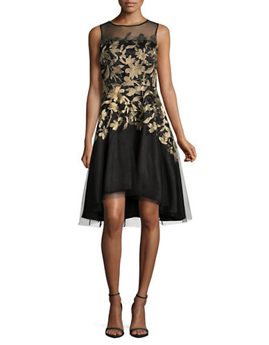 Tahari Embroidered Mesh Party Dress-BLACK-10