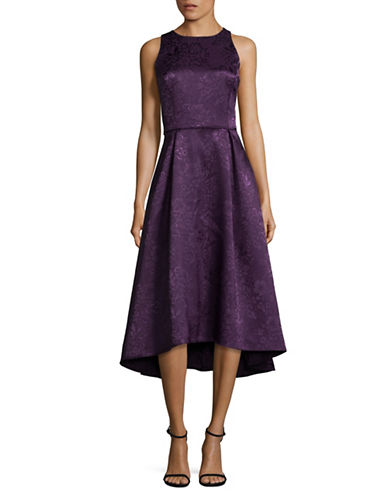 Tahari Floral Hi-Lo Midi Flare Dress-PURPLE-10
