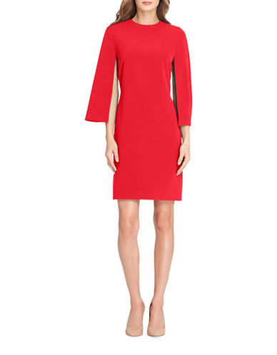 Tahari Long Slit Sleeve Crepe Sheath Dress-RED-12