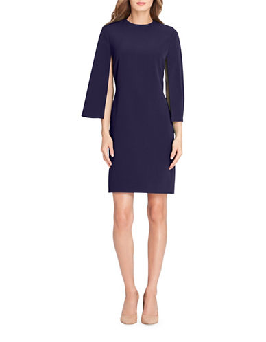 Tahari Long Slit Sleeve Crepe Sheath Dress-BLUE-12