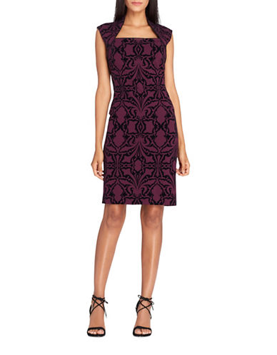 Tahari Sleeveless Flocked Scuba Sheath Dress-PURPLE/BLACK-8
