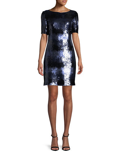 Tahari Short Sleeve Sequined Dress-BLUE-10