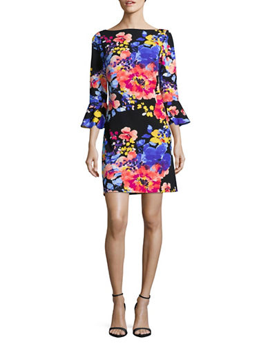 Tahari Floral-Print Sheath Dress-BLACK-14