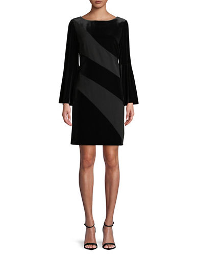 Tahari Bell Sleeve Velvet Sheath Dress-BLACK-8