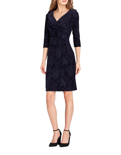 Tahari Three-Quarter Sleeve Velvet Burnout Dress-BLUE-10