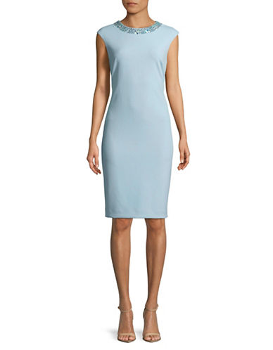 Tahari Jeweled Crepe Sheath Dress-BLUE-2