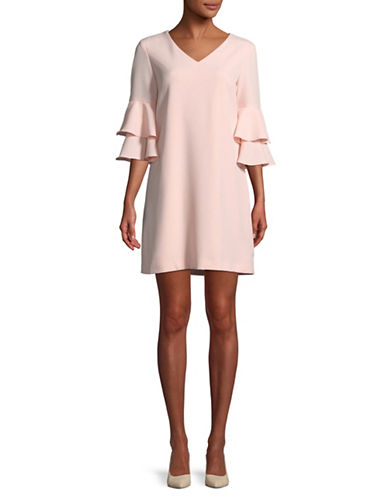 Tahari Ruffle-Trim Crepe Shift Dress-BLUSH-14