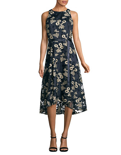Tahari Embroidered Mesh Sleeveless Hi-Lo Dress-NAVY-12