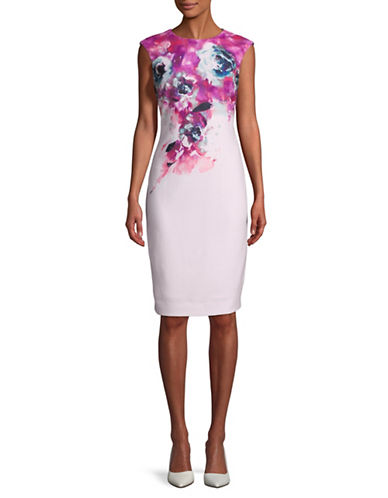 Tahari Floral Sleeveless Sheath Dress-PINK-4