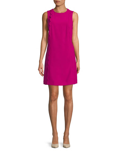 Tahari Scalloped Sleeveless Shift Dress-MAGENTA-4