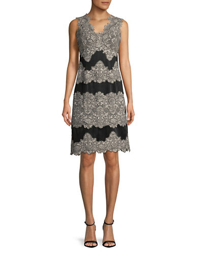 Tahari Sleeveless Lace Sheath Dress-BLUSH/BLACK-12