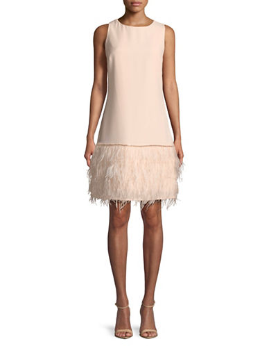 Tahari Sleeveless Feather Hem Shift Dress-PINK-12