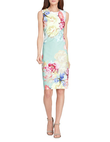 Tahari Floral Scuba Crepe Sheath Dress-MULTI-12