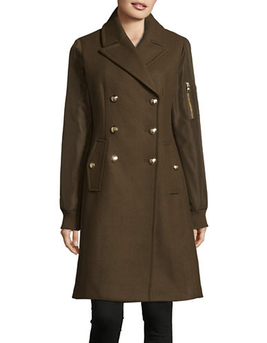 Vince Camuto Wool-Blend Combo Officer Coat-GREEN-Large