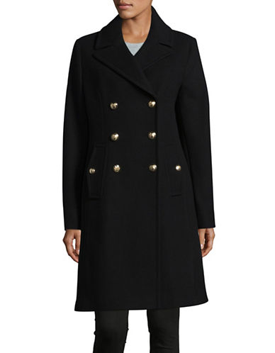 Vince Camuto Wool-Blend Double-Breasted Officer Coat-BLACK-X-Large