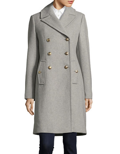 Vince Camuto Wool-Blend Double-Breasted Officer Coat-LIGHT GREY-Medium