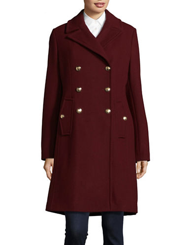 Vince Camuto Wool-Blend Double-Breasted Officer Coat-BURGUNDY-X-Small