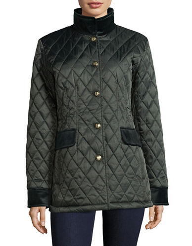 Vince Camuto Diamond-Quilt Jacket with Velvet Trim-GREEN-Large