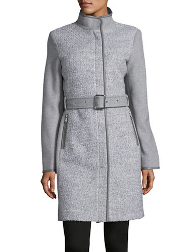 Vince Camuto Belted Mixed Wool-Blend Walker Coat-GREY-Large