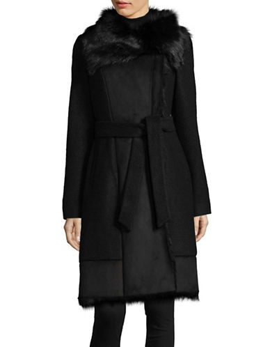 Vince Camuto Belted Wool-Blend Walker Coat with Faux Fur-BLACK-Medium