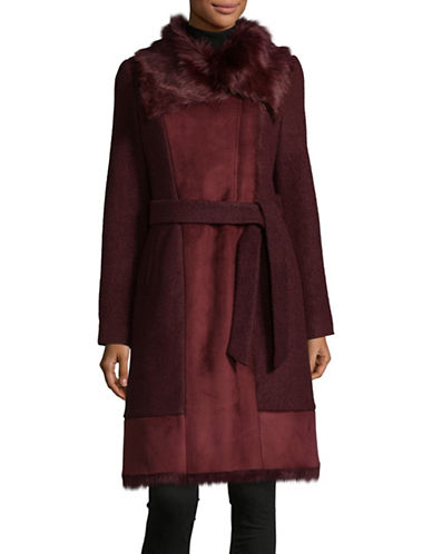 Vince Camuto Belted Wool-Blend Walker Coat with Faux Fur-RED-Small