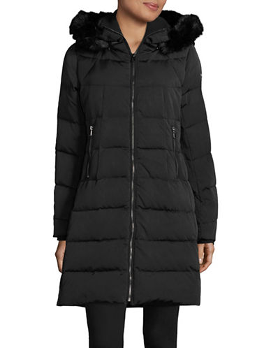 Vince Camuto Down Walker Coat with Layered Neckline-BLACK-X-Small