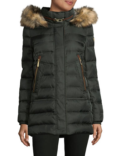 Vince Camuto Zip-Pocket Down Jacket with Faux Fur Hood-GREEN-Small