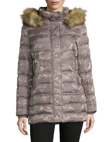 Vince Camuto Zip-Pocket Down Jacket with Faux Fur Hood-TAUPE-Small