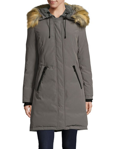 Vince Camuto Down Fill Parka with Faux Fur Hood-GREY-Large
