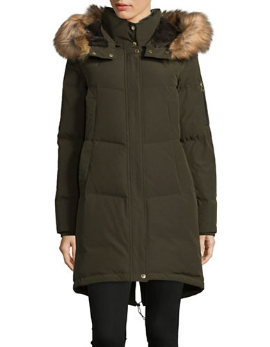 Vince Camuto Down Parka with Layered Faux Fur Neckline-GREEN-Large
