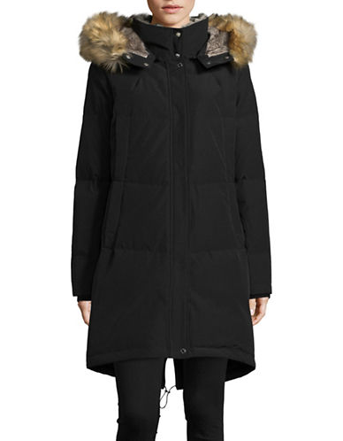 Vince Camuto Down Parka with Layered Faux Fur Neckline-BLACK-X-Small