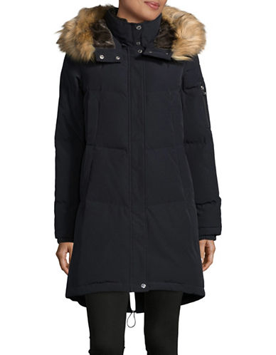 Vince Camuto Down Parka with Layered Faux Fur Neckline-BLUE-X-Small