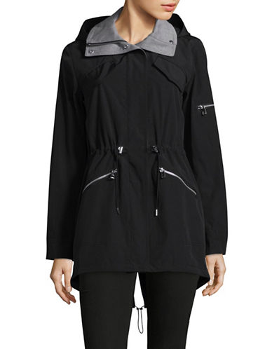 Vince Camuto Hooded Poly-Fill Anorak-BLACK-X-Large