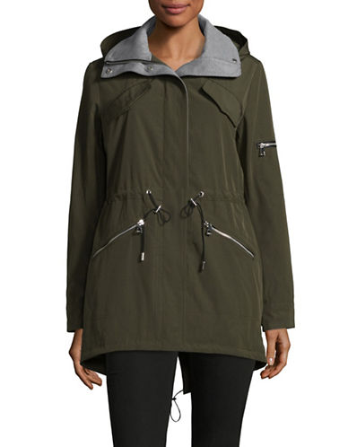 Vince Camuto Hooded Poly-Fill Anorak-GREEN-X-Small