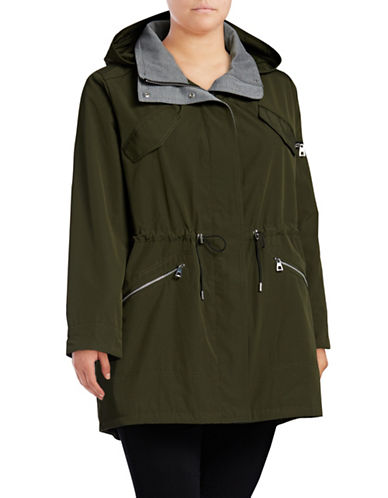 Vince Camuto Plus Hooded Poly-Fill Anorak-GREEN-1X